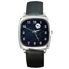 Night Birds And Full Moon Square Leather Watch