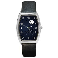 Night Birds And Full Moon Tonneau Leather Watch