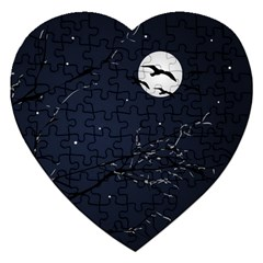 Night Birds and Full Moon Jigsaw Puzzle (Heart)