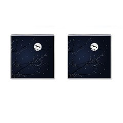 Night Birds And Full Moon Cufflinks (square)