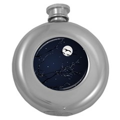 Night Birds and Full Moon Hip Flask (Round)