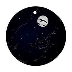 Night Birds and Full Moon Round Ornament (Two Sides)