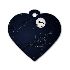 Night Birds And Full Moon Dog Tag Heart (two Sided)