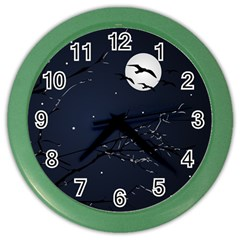 Night Birds and Full Moon Wall Clock (Color)