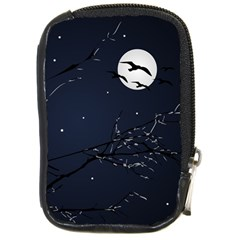 Night Birds And Full Moon Compact Camera Leather Case