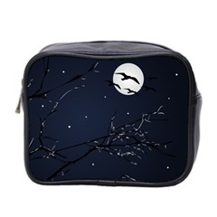 Night Birds And Full Moon Mini Travel Toiletry Bag (two Sides)