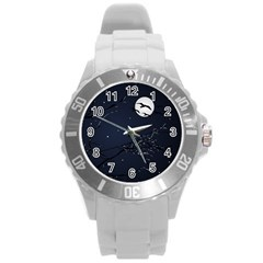 Night Birds And Full Moon Plastic Sport Watch (large)