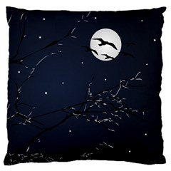 Night Birds and Full Moon Large Cushion Case (Two Sided)