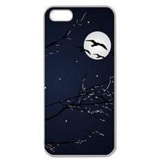 Night Birds And Full Moon Apple Seamless Iphone 5 Case (clear)