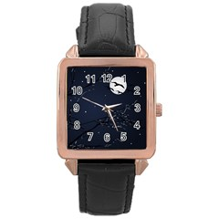 Night Birds and Full Moon Rose Gold Leather Watch