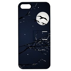Night Birds And Full Moon Apple Iphone 5 Hardshell Case With Stand