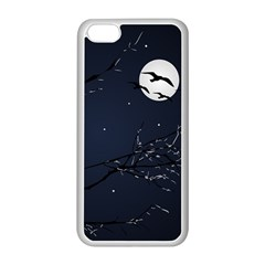 Night Birds and Full Moon Apple iPhone 5C Seamless Case (White)