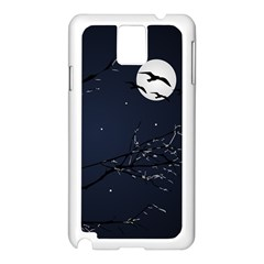 Night Birds And Full Moon Samsung Galaxy Note 3 N9005 Case (white)