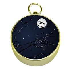 Night Birds and Full Moon Gold Compass