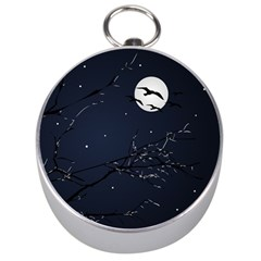 Night Birds and Full Moon Silver Compass