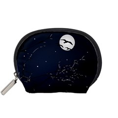 Night Birds And Full Moon Accessory Pouch (small)