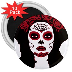 Day Of The Dead 3  Button Magnet (10 pack)