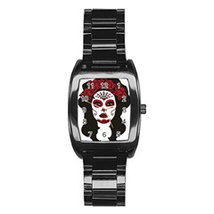 Day Of The Dead Stainless Steel Barrel Watch