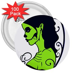 Day Of The Dead 3  Button (100 pack)