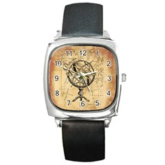 Discover The World Square Leather Watch