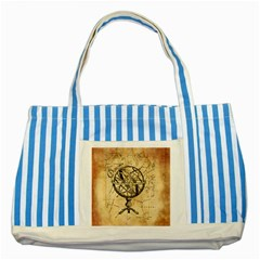 Discover The World Blue Striped Tote Bag