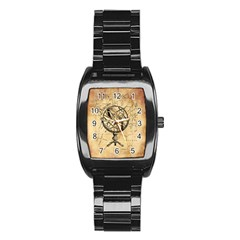 Discover The World Stainless Steel Barrel Watch