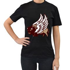 Winged Buffalo Women s T-shirt (Black)