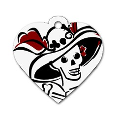 Day Of The Dead Dog Tag Heart (One Sided)