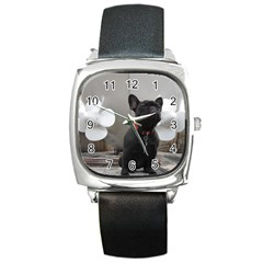 French Bulldog Square Leather Watch