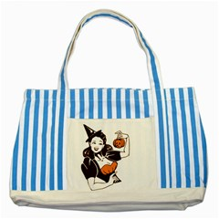 Halloween Pin Up Blue Striped Tote Bag