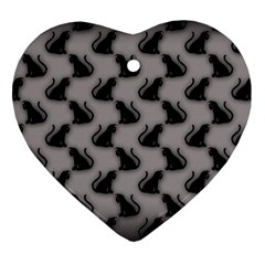 Black Cats On Gray Heart Ornament