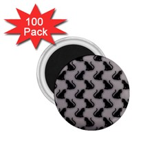 Black Cats on Gray 1.75  Button Magnet (100 pack)