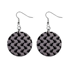 Black Cats On Gray Mini Button Earrings