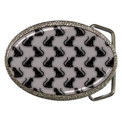 Black Cats on Gray Belt Buckle (Oval)
