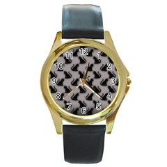 Black Cats on Gray Round Leather Watch (Gold Rim)