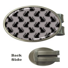 Black Cats on Gray Money Clip (Oval)