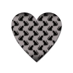Black Cats on Gray Magnet (Heart)