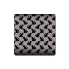 Black Cats On Gray Magnet (square)