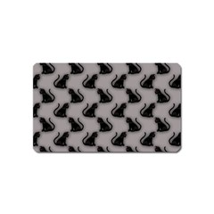 Black Cats on Gray Magnet (Name Card)