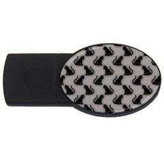 Black Cats On Gray 2gb Usb Flash Drive (oval)