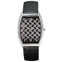 Black Cats on Gray Tonneau Leather Watch