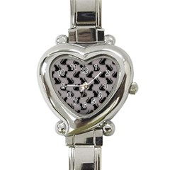 Black Cats On Gray Heart Italian Charm Watch