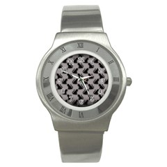 Black Cats On Gray Stainless Steel Watch (slim)