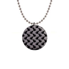 Black Cats on Gray Button Necklace