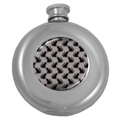 Black Cats on Gray Hip Flask (Round)