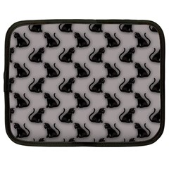 Black Cats On Gray Netbook Sleeve (large)