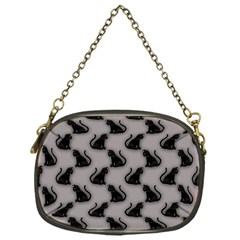 Black Cats On Gray Chain Purse (one Side)