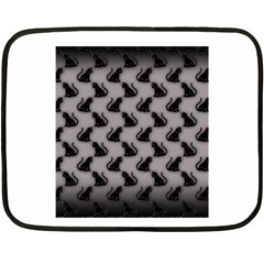 Black Cats on Gray Mini Fleece Blanket (Two Sided)