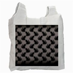 Black Cats On Gray White Reusable Bag (one Side)