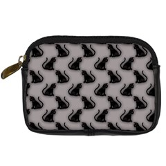 Black Cats On Gray Digital Camera Leather Case